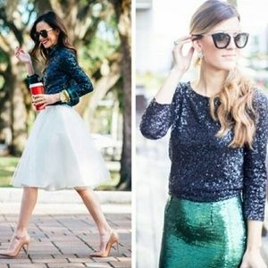 J.Crew Glimmer Black sequined top tee